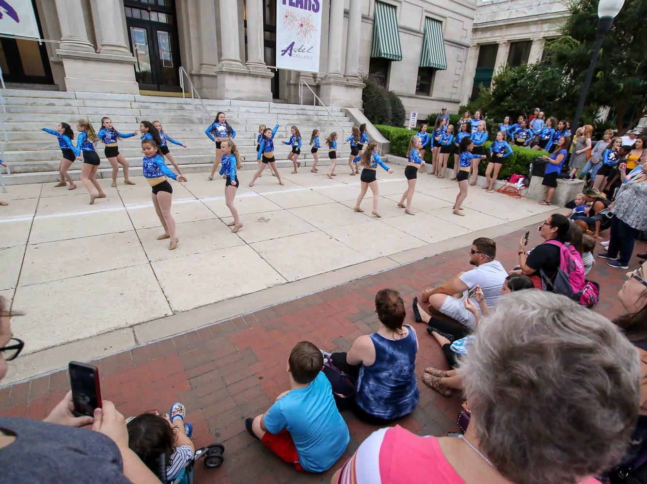 A group of dancers perform during Gallery Night on Friday, August 17, 2018.
