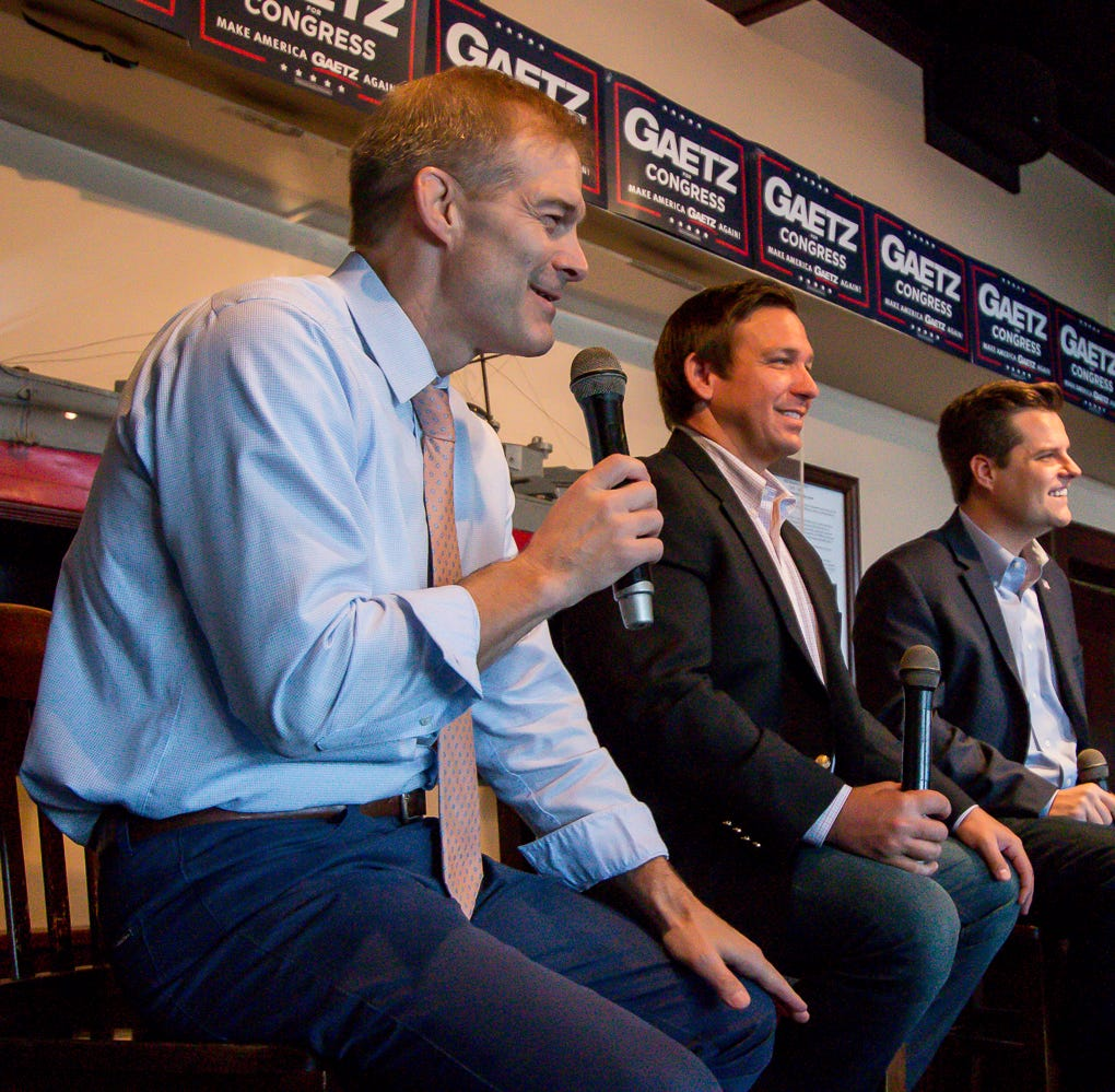 Ron DeSantis, Matt Gaetz campaign with Jim Jordan in Pensacola while on Freedom Tour