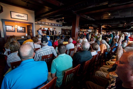 Supporters listen as Republican Reps. Jim Jordan, Ron DeSantis, and Matt Gaetz speak during the Freedom Tour at the Fish House on Saturday, August 18, 2018. Gaetz is running for re-election in Florida's 1st congressional district, which includes Pensacola through DeFuniak Springs in the panhandle. DeSantis, a gubernatorial candidate, represents Florida's 6th congressional district, which includes Palm Coast and Daytona Beach on the east coast. Jordan founded the Freedom Caucus and represents Ohio's 4th congressional district. He also is a candidate for Speaker of the U.S. House of Representatives.