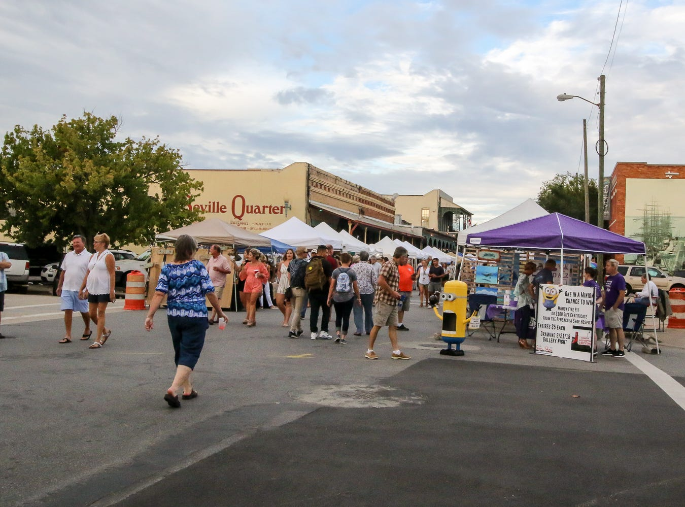 People make their way through downtown during Gallery Night on Friday, August 17, 2018.