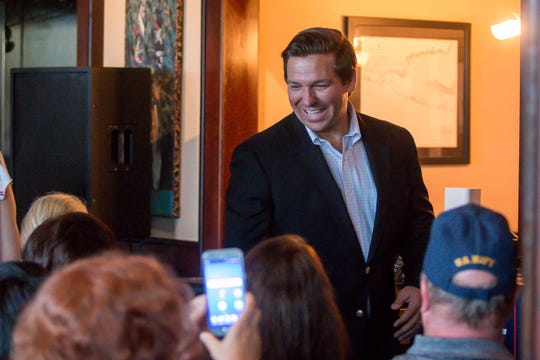 Republican Rep. Ron DeSantis greets supporters during the Freedom Tour, which also featured Republican Reps. Matt Gaetz and Jim Jordan, at the Fish House on Saturday, August 18, 2018. Gaetz is running for re-election in Florida's 1st congressional district, which includes the panhandle. DeSantis, a gubernatorial candidate, currently represents Florida's 6th congressional district, which includes Palm Coast and Daytona Beach on the east coast. Jordan founded the Freedom Caucus and represents Ohio's 4th congressional district. He also is a candidate for Speaker of the U.S. House of Representatives.