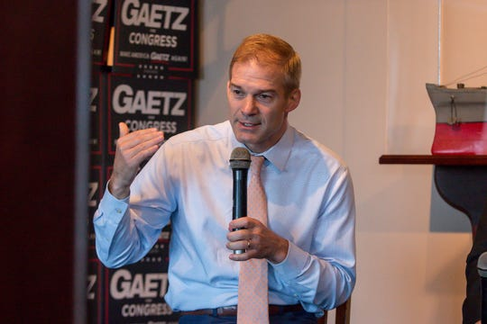Republican Rep. Jim Jordan speaks during the Freedom Tour, which also featured Republican Reps. Matt Gaetz and Ron DeSantis, at the Fish House on Saturday, August 18, 2018. Gaetz is running for re-election in Florida's 1st congressional district, which includes the panhandle. DeSantis, a gubernatorial candidate, currently represents Florida's 6th congressional district, which includes Palm Coast and Daytona Beach on the east coast. Jordan founded the Freedom Caucus and represents Ohio's 4th congressional district. He also is a candidate for Speaker of the U.S. House of Representatives.