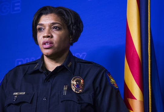 Phoenix Police Chief Jeri Williams talks about the recent uptick in police shootings in Phoenix and throughout Arizona at Phoenix Police Department headquarters on Aug. 17, 2018.