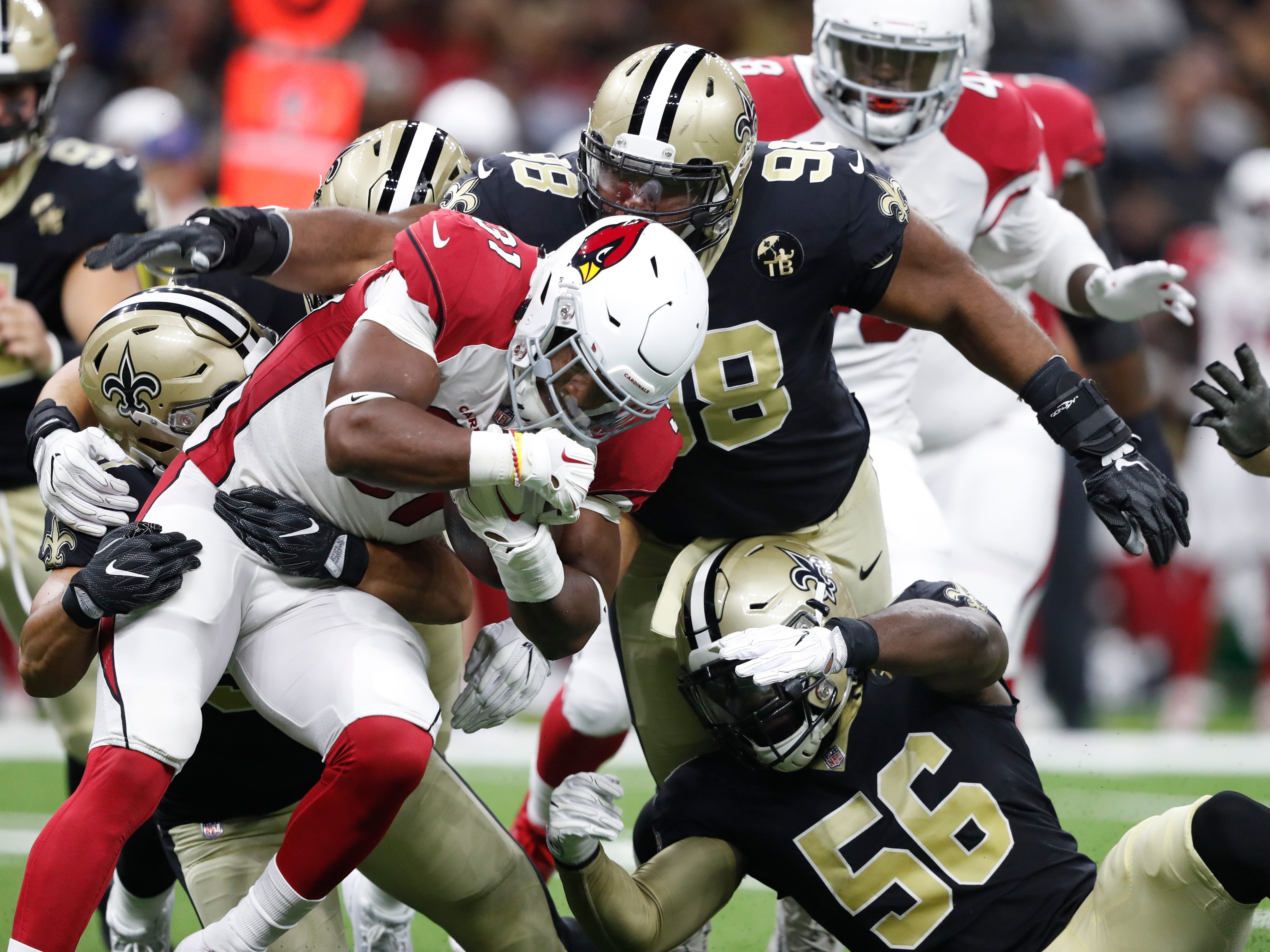 Arizona Cardinals running back David Johnson (31) carries in the first half of an NFL preseason football game against the New Orleans Saints in New Orleans, Friday, Aug. 17, 2018.