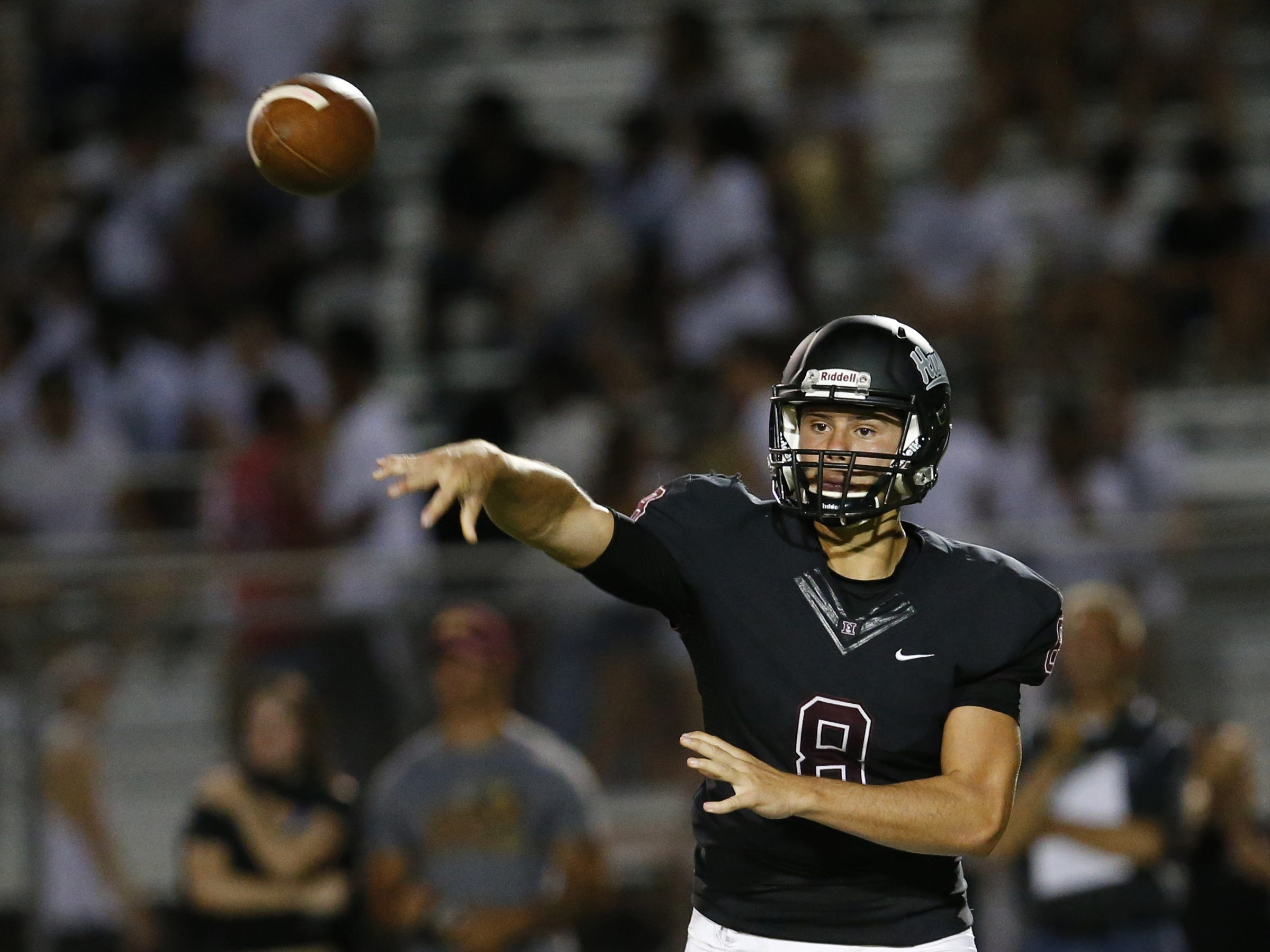 Hamilton Brandon Schenks (8) passes the ball during a high school football game against Chaparral at Hamilton in Chandler on August 17, 2018. #hsfb