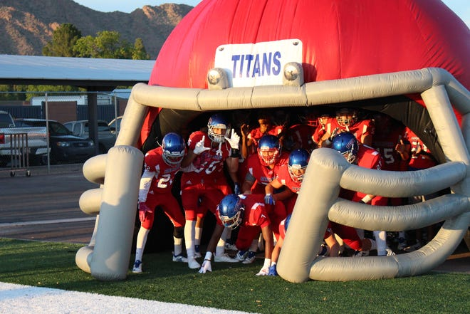 The Arcadia Titans take the field for their 2018 season opening football game.