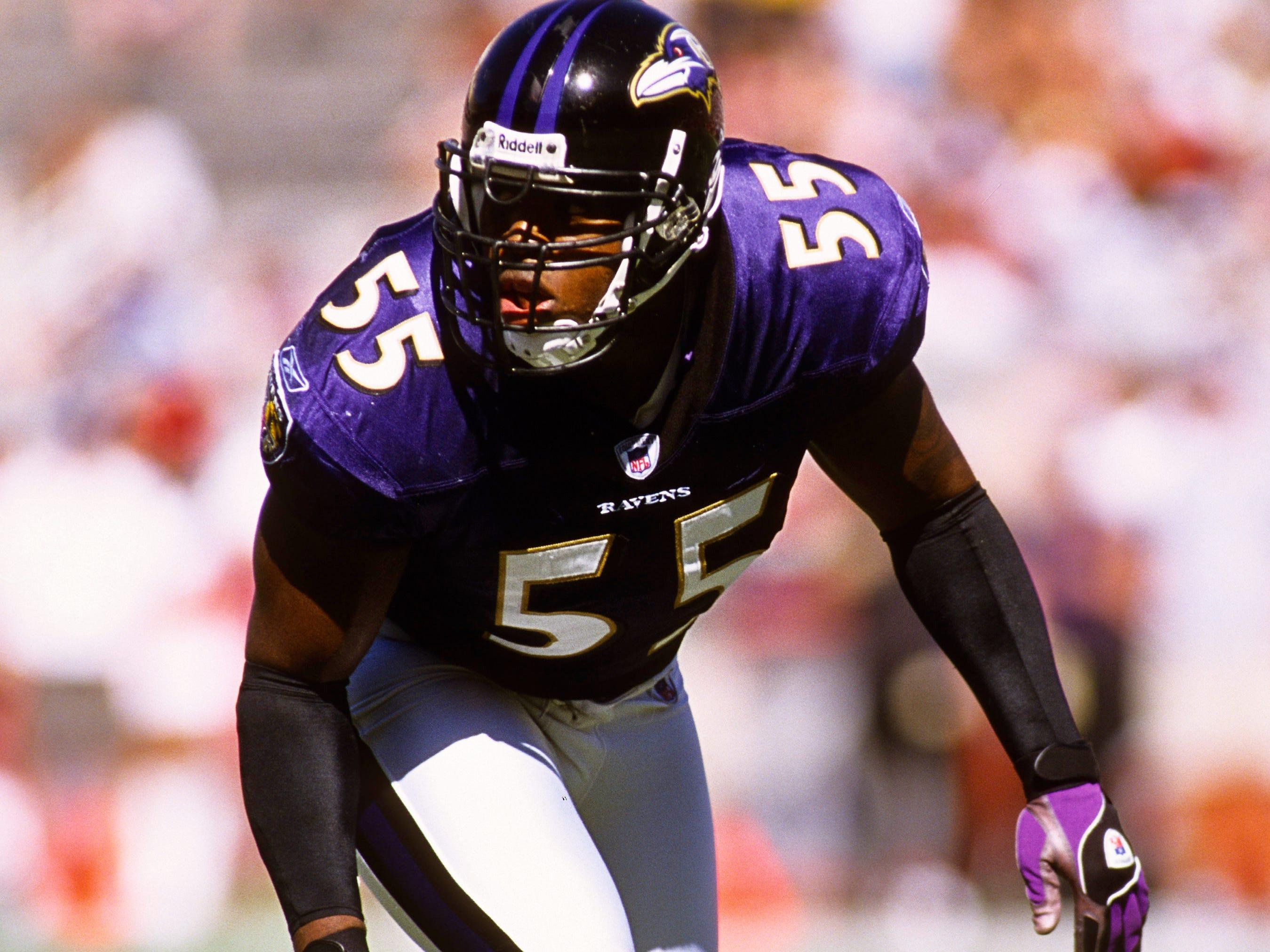 Baltimore Ravens linebacker Terrell Suggs (55) in action against the Arizona Cardinals at Sun Devil Stadium.
