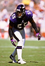Baltimore Ravens linebacker Terrell Suggs (55) in action against the Arizona Cardinals at Sun Devil Stadium.
