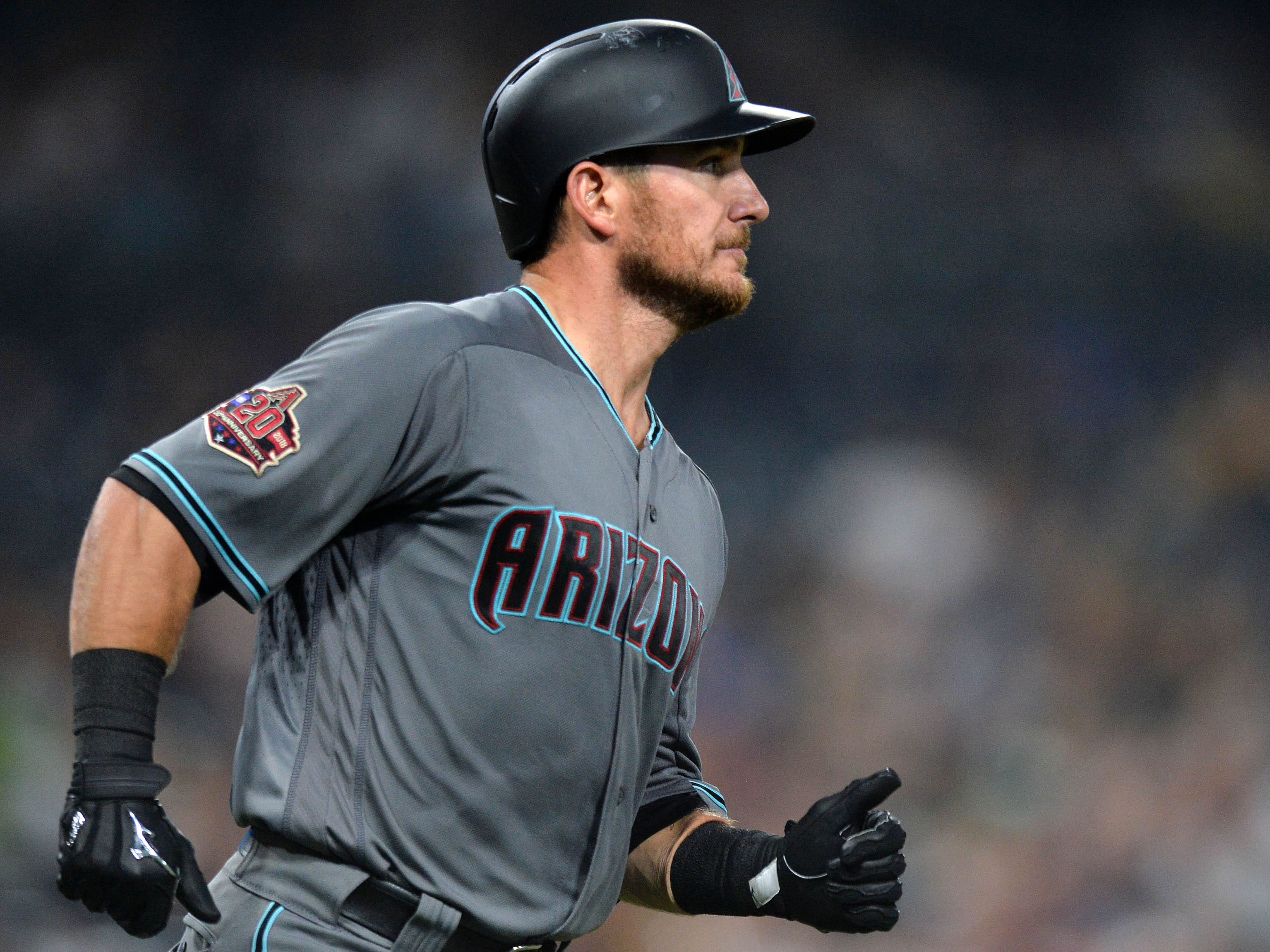 Aug 17, 2018: Arizona Diamondbacks catcher Jeff Mathis (2) jogs to first with an RBI single during the second inning against the San Diego Padres at Petco Park.
