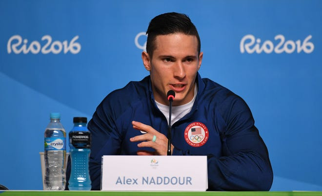 Aug 3, 2016: Alex Naddour (USA) speaks during a men's gymnastics press conference at MPC Frevo.