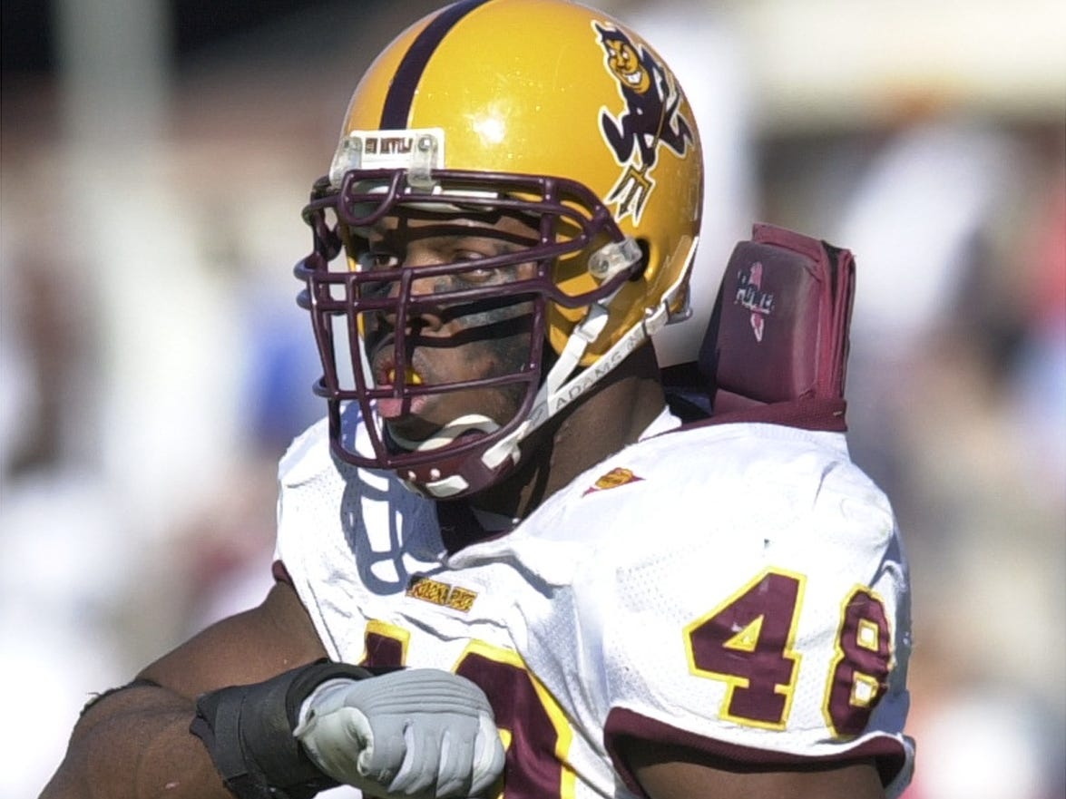 ASU 's Terrell Suggs during the UA game. ASU defeated the Wildcats 34-20 in Tucson.