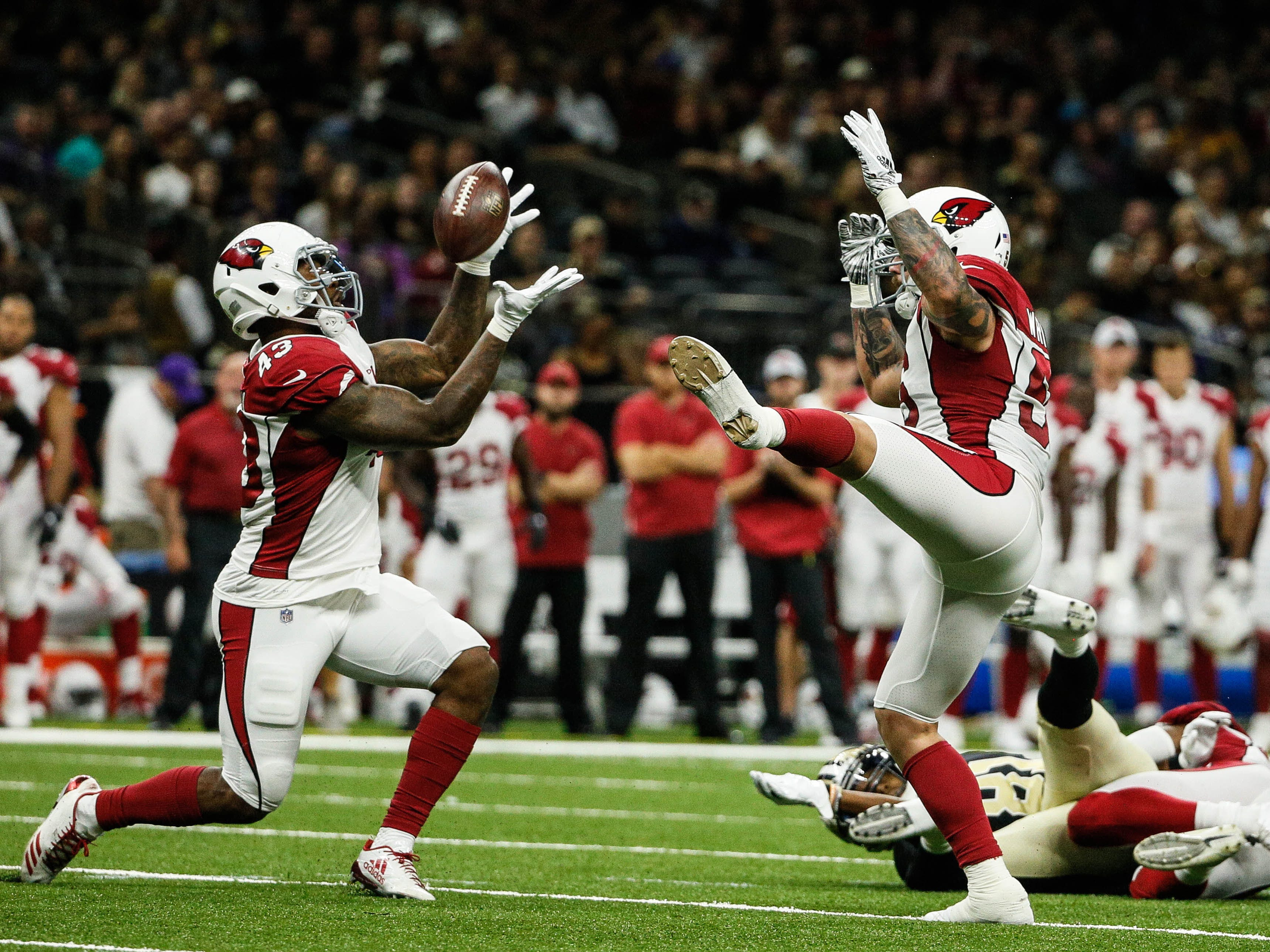 Aug 17, 2018: Arizona Cardinals linebacker Haason Reddick (43) intercepts a pass during the first quarter of a preseason game against the New Orleans Saints at the Mercedes-Benz Superdome.