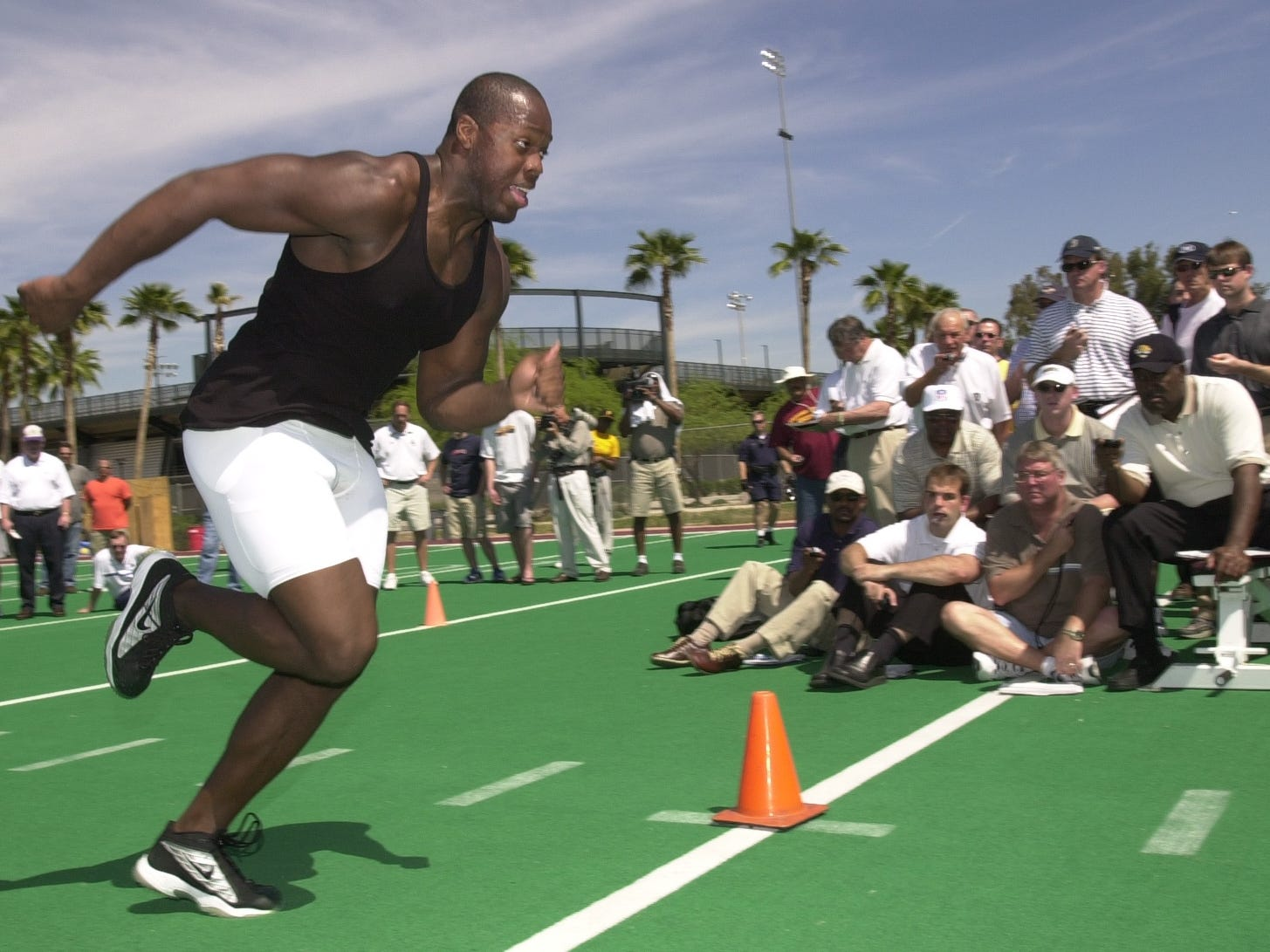 ASU's Terrell Suggs works out on campus for NFL scouts March 26, 2003.