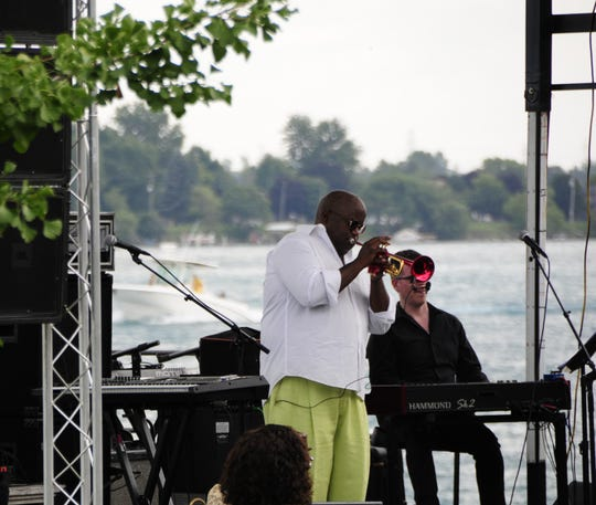 Joey Sommerville plays trumpet at the St. Clair Jazz Festival on Saturday, Aug. 18, 2018 in Palmer park.