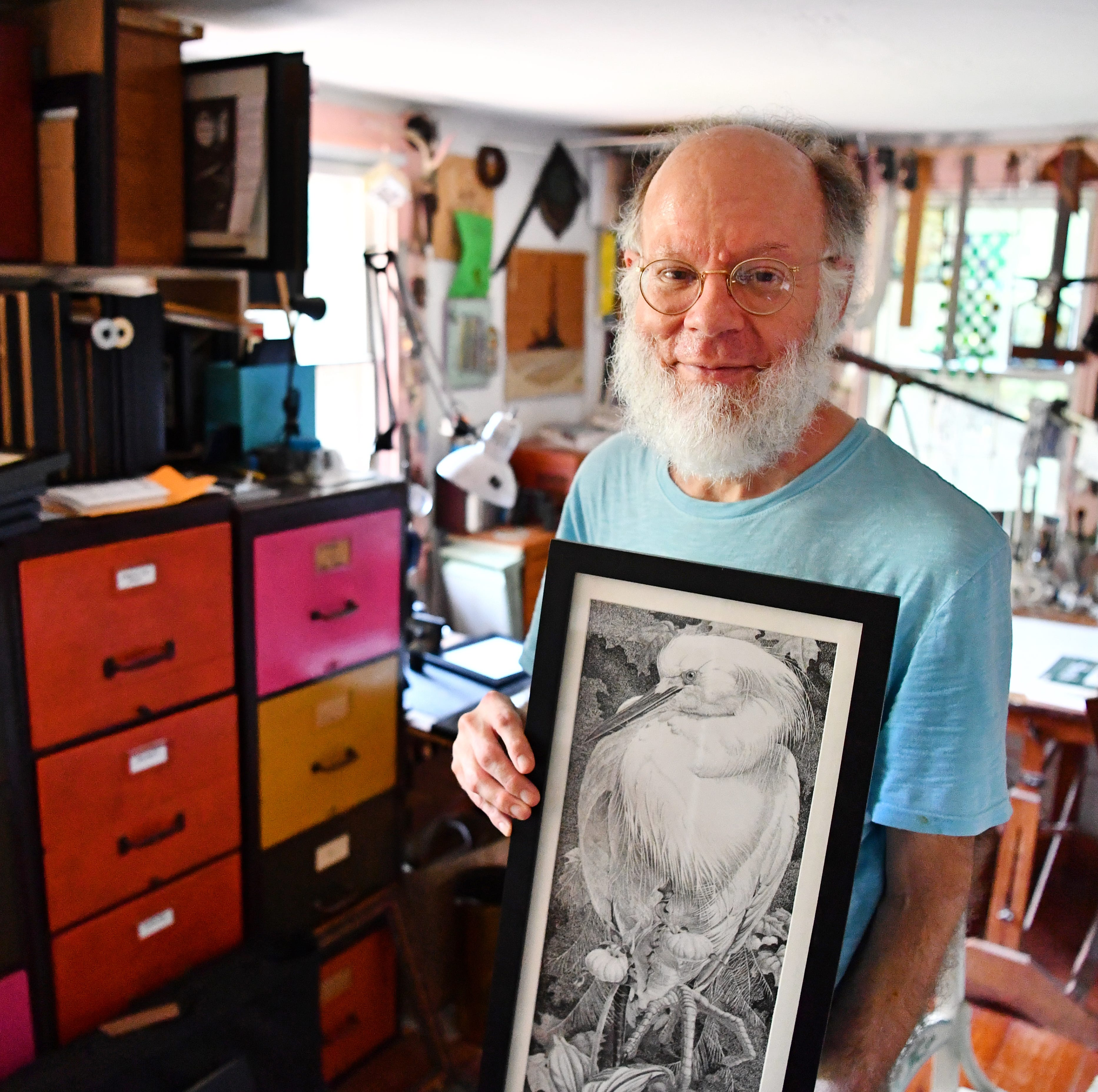 Artist Robert Oughton is shown in his studio at his home in Hellam Township, Thursday, Aug. 16, 2018. Oughton is the featured artist for Yorkfest this year. Dawn J. Sagert
