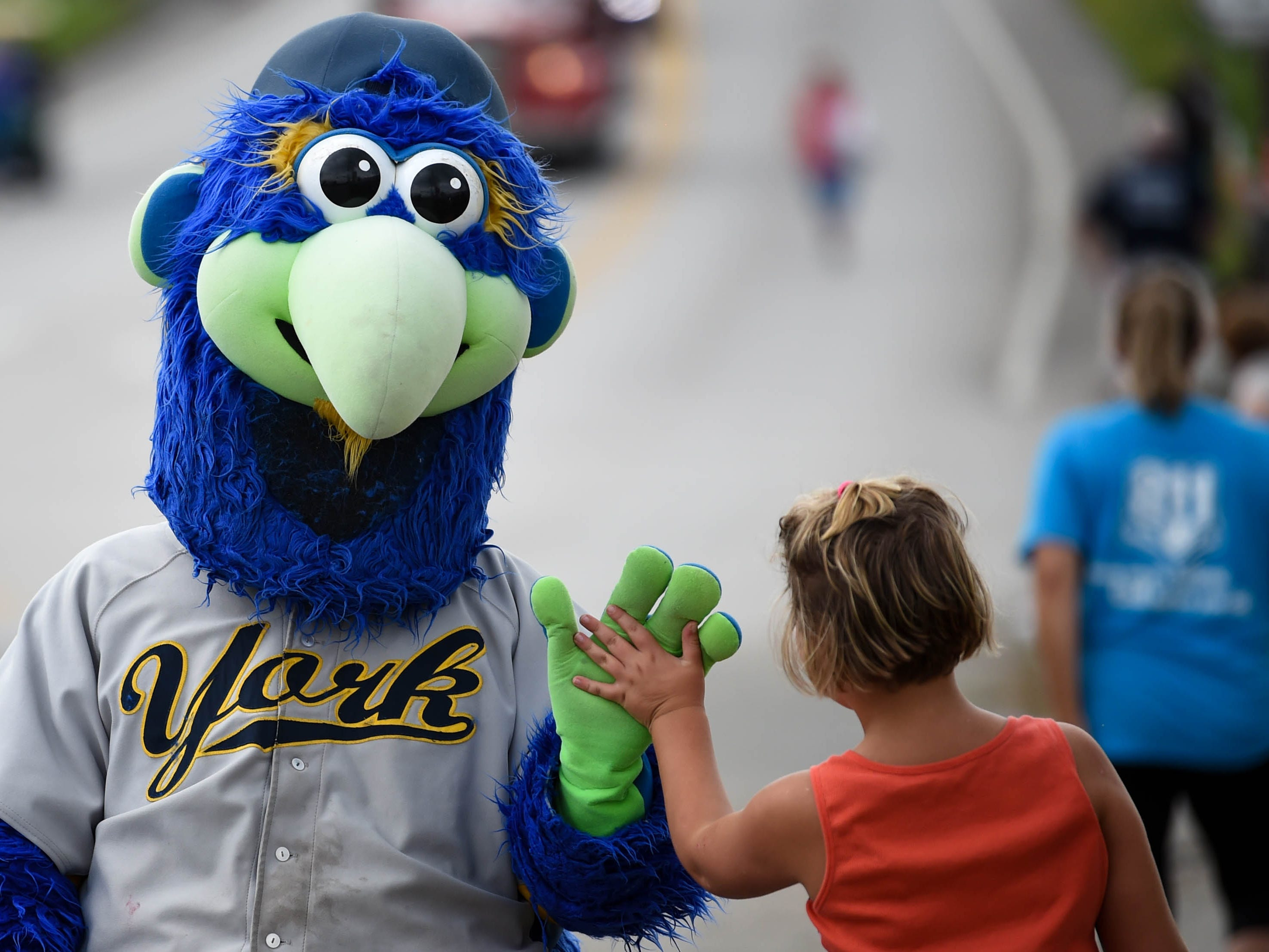 York Revolution's Downtown high-fives a parade goer during the York County Firemen's Parade, celebrating Alert Fire Company's 100th year, Saturday, August 18, 2018.
