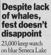August 1996: Crowds turned out for whale watch.