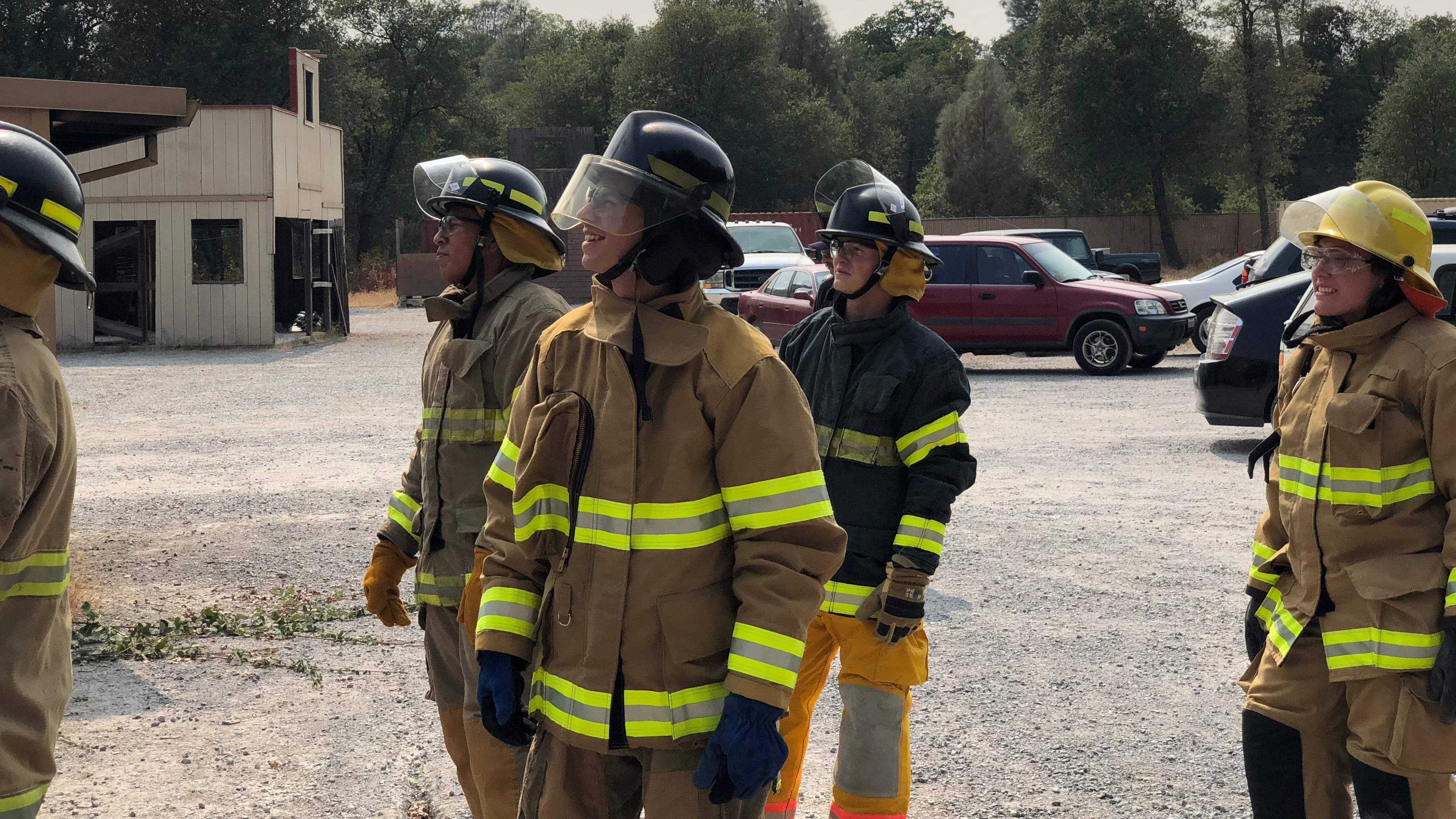 Jonny Natale (center) was inspired to enroll in Shasta College's Fire Technology Program after watching the Carr Fire destroy his community.