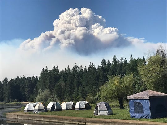 Pyrocumulus cloud over the Klondike fire.
