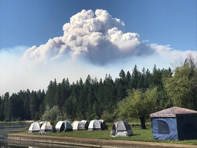 Pyrocumulus cloud over the Klondike fire.