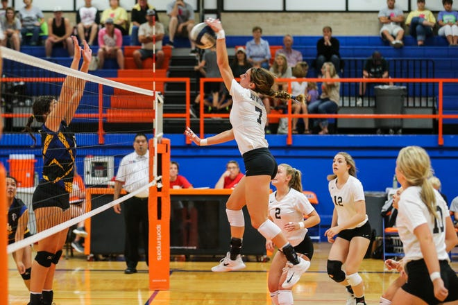 Water Valley's Kenzie Jordan hits the ball over the net at Veribest during the Nita Vannoy Memorial Volleyball Tournament Saturday, Aug. 18, 2018, at Central's Babe Didrikson Gym.