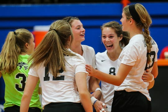 Water Valley players celebrate a play against Veribest during the Nita Vannoy Memorial Volleyball Tournament Saturday, Aug. 18, 2018, at Central's Babe Didrikson Gym.