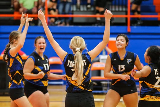 Veribest team celebrates a play against Water Valley during the Nita Vannoy Memorial Volleyball Tournament Saturday, Aug. 18, 2018, at Central's Babe Didrikson Gym.