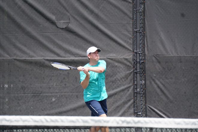 John Gray Pou plays during the quarterfinals of the City Championships at the Bossier Tennis Center on Saturday.
