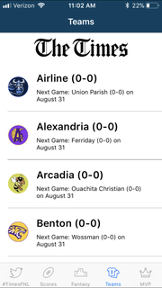The Friday Night Live app includes full schedules and scores for 41 teams in central and north Louisiana.