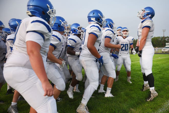 Garretson talks the field before the game against Howard Friday, Aug 17, in Howard.
