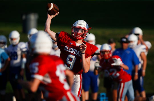 Glendale quarterback Gavin Watts throws a pass during a jamboree game against Marshfield at Glendale on Friday, August 17, 2018
