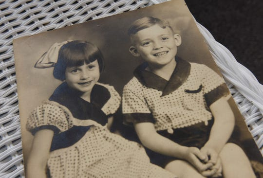 Twins Virgil Egerman and Ginny Egerman Symons are pictured in a vintage photo.