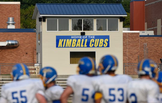 Players take the field for practiceTuesday, Aug. 14, at Kimball High School.
