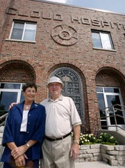 Virginia Symons and Virgil Egerman visit St. Cloud Hospital in August 2003, where they were born in 1928.
