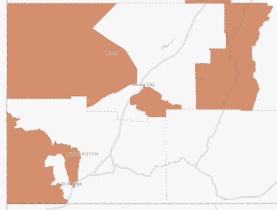 """Opportunity Zones,"" new designated areas eligible for tax breaks for investments in new development, are shown in orange in this map of southwestern Utah."