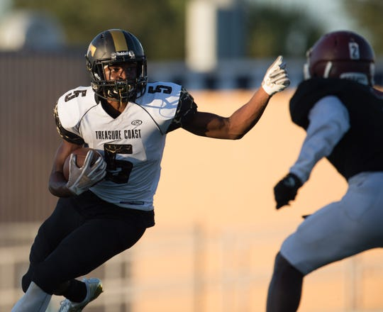 Images of the preseason high school football game between Treasure Coast and Fort Pierce Westwood at the Calvin Triplett Field at Lawnwood Park on Friday, August 17, 2018 in Fort Pierce.