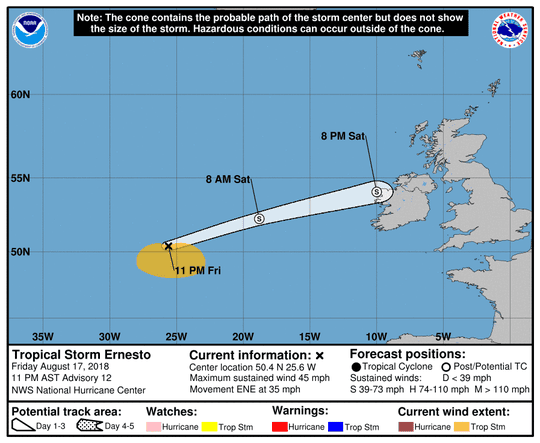 Projected path of Tropical Storm Ernesto as of 11 p.m. Friday, Aug. 17, 2018.