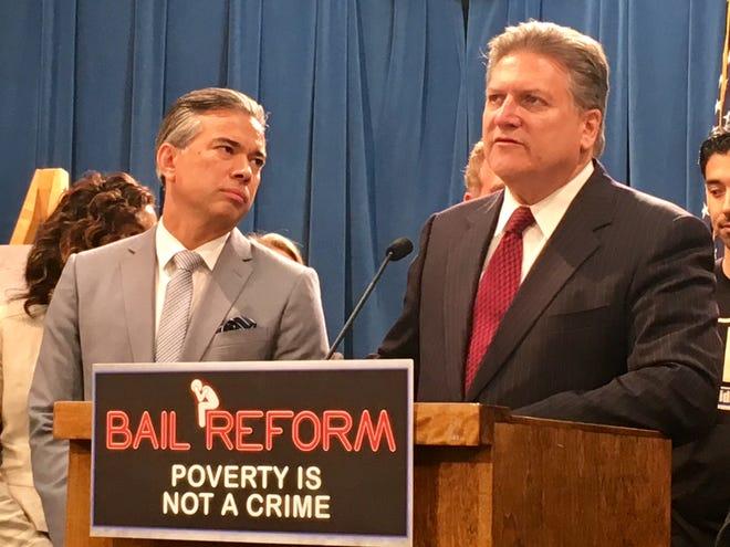 Assemblyman Rod Bonta, D-Alameda, and Sen. Bob Hertzberg, D-Los Angeles, are authors of legislation to eliminate money bail in California.