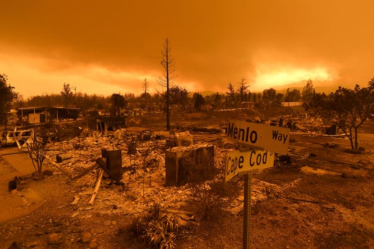 In this July 27 photo, homes leveled by the Carr Fire line the Lake Keswick Estates area of Redding.