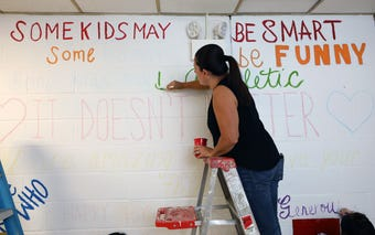 Members of the Elmsford School District PTSA, paint an anti-bully mural at the Alice E. Grady elementary school in Elmsford.