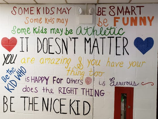 The completed anti-bully mural at the Alice E. Grady elementary school in Elmsford, Aug. 18, 2018. It's a mural about acceptance and being nice to each other.