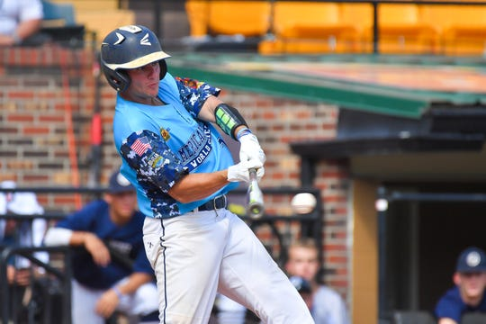 Red-shirt freshman outfielder Austin Colmery, here swinging for Post One, is batting .450 for the Blue Hens.