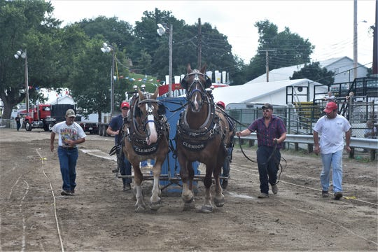 Chris Clemson (right) guides his horses, Jack and Amos during Saturday's Horse Pull on the final day of the Muskingum County Fair.