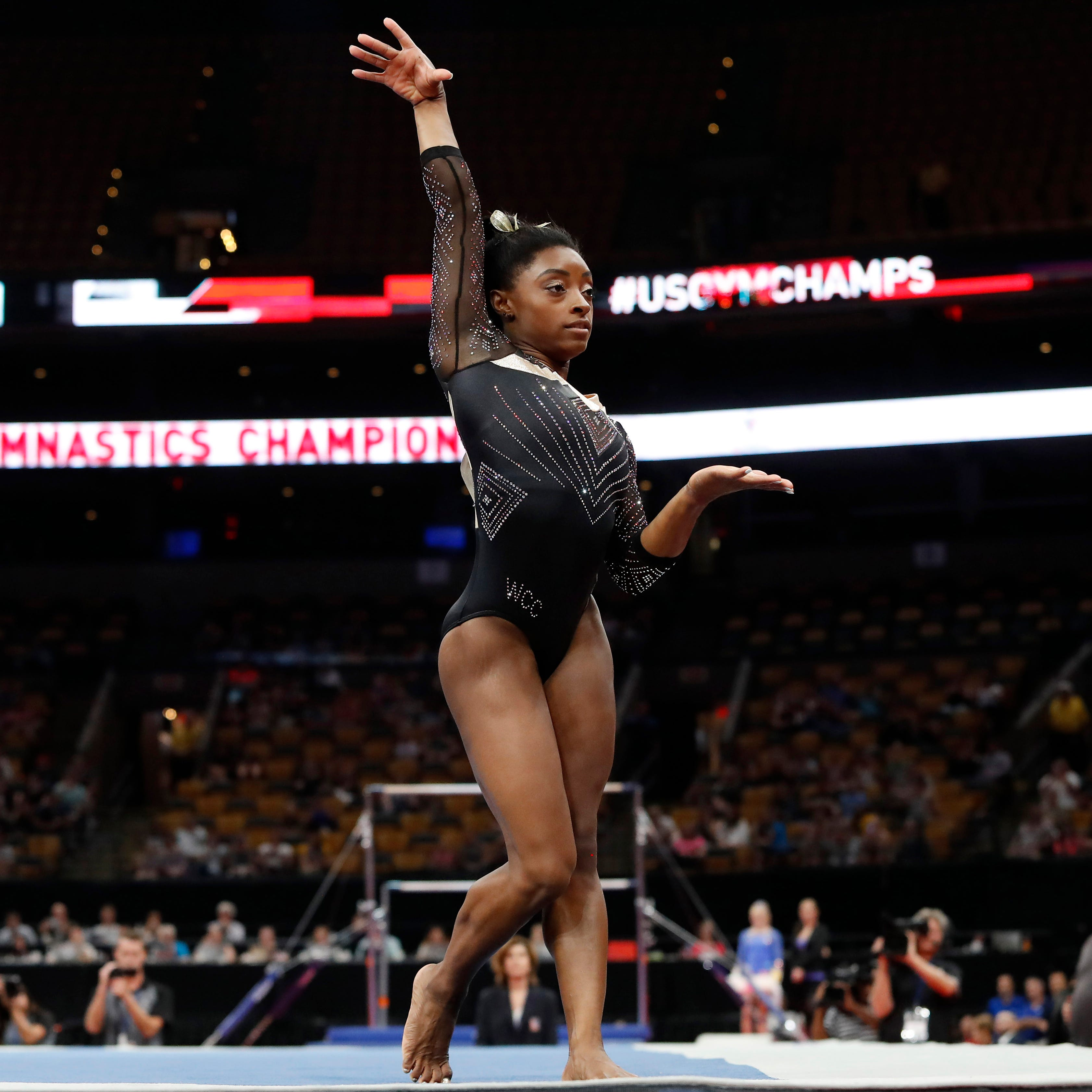 Simone Biles competes in the floor exercise during the U.S. Gymnastics Championships at TD Garden in Boston.
