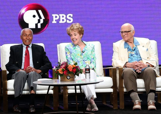 "Arthur Duncan (from left), a dancer on ""The Betty White Show"" in the 1950s, and ""Mary Tyler Moore Show"" co-stars Georgia Engel and Gavin MacLeod talk about White during a July PBS panel for the documentary ""Betty White: First Lady of Television."""
