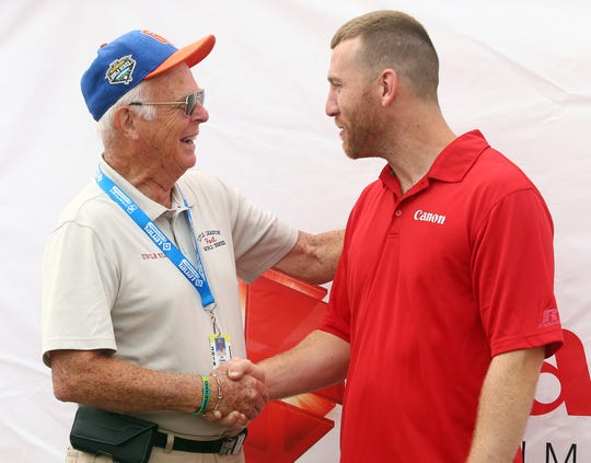Members of the 1998 LLBWS Champion Toms River East American Little League team, Todd Frazier is reunited with Bill Castle of Williamsport, PA. Castle was a Team Host or 'Uncle' that traveled with the NJ team during their championship run in the Little League Baseball World Series. August 19, 2018, South Williamsport, Pa.