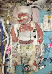 Nolan Boulter as a newborn in the hospital.