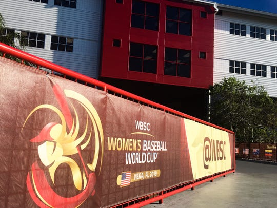 The banners are in place for the Women's Baseball World Cup at the USSSA Sports Complex in Viera.