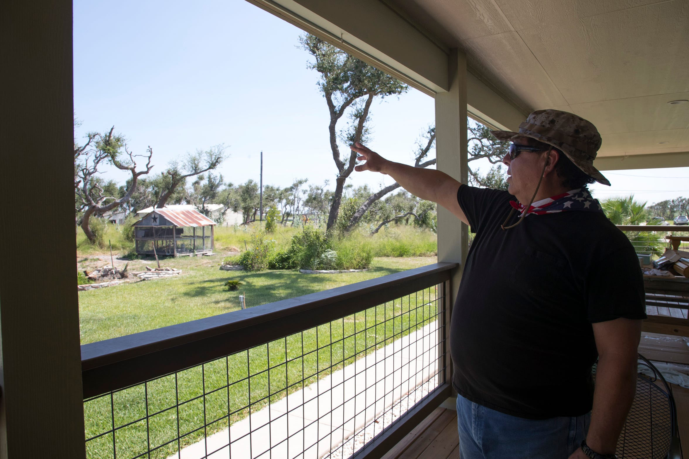 Carlos Casas walks around his property that was severely damaged during Hurricane Harvey,  on Sunday, August, 19, 2018 in Rockport.