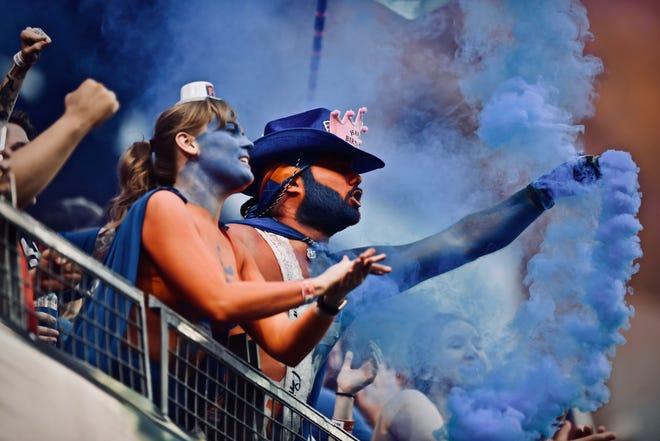 Tom Grabo and Stevie Sharp celebrate an FC Cincinnati goal against Charleston Saturday, August 18th at Nippert Stadium